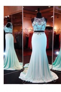 Scoop Sleeveless Evening Dress With Brush Train Beading and Appliques Baby Blue Elastic Woven Satin