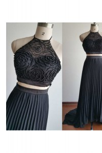 Black Glitz Pageant Dress Prom and Party and For with Beading Halter Top Sleeveless Court Train Zipper