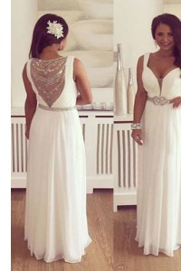 Elegant V-neck Sleeveless Homecoming Dress Floor Length Beading and Belt White Chiffon