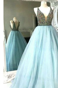 Floor Length A-line Sleeveless Light Blue Prom Evening Gown Backless