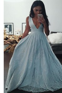 Luxurious Light Blue Sleeveless Taffeta Zipper Evening Gowns for Prom and Party