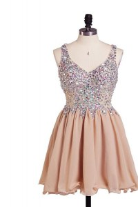 Cute Sleeveless Side Zipper Knee Length Beading Homecoming Party Dress