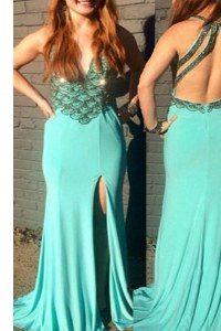 Sleeveless With Train Beading Backless Prom Party Dress with Turquoise Sweep Train