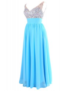 Aqua Blue Column/Sheath Beading Homecoming Dress Zipper Chiffon Sleeveless Floor Length