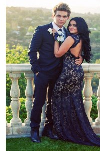 Mermaid Sleeveless Lace Backless Dress for Prom with Navy Blue Brush Train