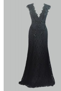 Classical Lace Floor Length Column/Sheath Cap Sleeves Black Evening Gowns Zipper