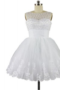 Elegant White A-line Organza Bateau Sleeveless Beading and Appliques Knee Length Zipper
