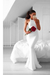 Most Popular Mermaid White Sleeveless Ruching Backless Homecoming Dress