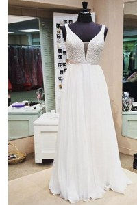 Fantastic A-line Homecoming Dress White V-neck Chiffon Sleeveless Floor Length Zipper