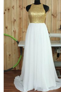 Sequins Sweep Train A-line Prom Party Dress White Scoop Chiffon Sleeveless Backless