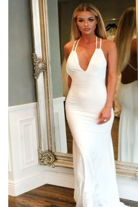 Fabulous With Train Mermaid Sleeveless White Womens Evening Dresses Brush Train Backless