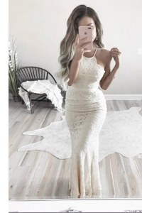 Mermaid Homecoming Dress White Halter Top Lace Sleeveless Floor Length Zipper