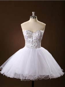 White Sleeveless Tulle Zipper Cocktail Dress for Prom and Party