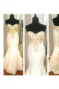 Eye-catching Mermaid White Sweetheart Zipper Beading and Appliques Prom Party Dress Sleeveless