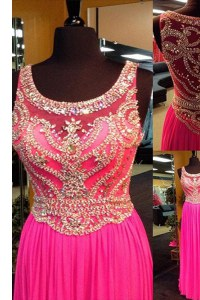 Trendy Scoop Sleeveless Elastic Woven Satin With Brush Train Side Zipper Homecoming Dress in Hot Pink with Beading