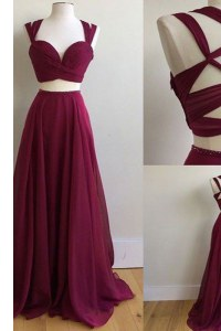 Burgundy A-line Chiffon Square Sleeveless Ruching With Train Criss Cross Dress for Prom Sweep Train