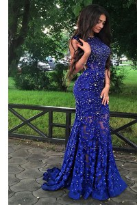 Elegant Mermaid Scoop Lace Royal Blue Backless Beading Sleeveless With Train Sweep Train
