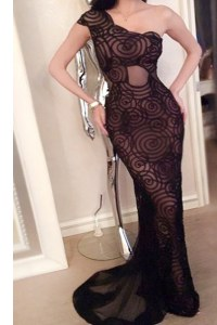 Colorful Black Mermaid One Shoulder Sleeveless Lace With Train Sweep Train Side Zipper Lace