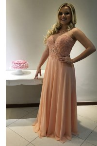 Dazzling Scoop With Train Zipper Prom Dresses Peach for Prom and Party with Beading and Lace Sweep Train