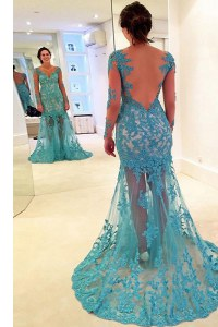 Lace With Train Mermaid Long Sleeves Blue Evening Dress Brush Train Backless