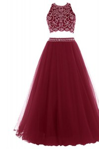 Stylish Halter Top Burgundy Sleeveless Tulle Zipper Prom Dresses for Prom and Party