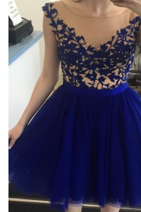 Traditional Royal Blue A-line Bateau Cap Sleeves Tulle Mini Length Zipper Beading Cocktail Dresses