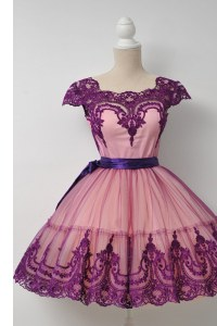 Graceful Square Cap Sleeves Zipper Prom Evening Gown Purple Tulle