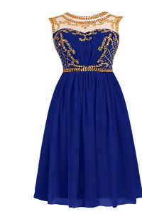 Stunning Scoop Royal Blue Sleeveless Chiffon Zipper Homecoming Dress for Prom and Party