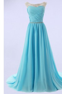 Affordable Sweep Train A-line Evening Dress Baby Blue Scoop Chiffon Sleeveless With Train Zipper