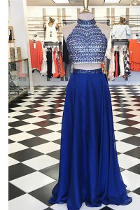 Modest Royal Blue Chiffon Zipper Homecoming Dress Sleeveless Floor Length Beading