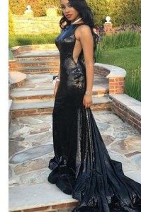 Black Mermaid Bateau Sleeveless Taffeta Sweep Train Zipper Ruching Evening Dress