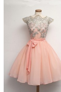 Scalloped Peach A-line Appliques Pageant Dress Zipper Chiffon Cap Sleeves Knee Length