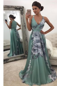 Flare Green Chiffon and Printed Zipper Prom Gown Sleeveless With Train Sweep Train Pattern