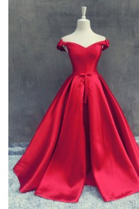 Off the Shoulder Red Zipper Prom Dress Sashes ribbons and Bowknot Short Sleeves With Train Sweep Train