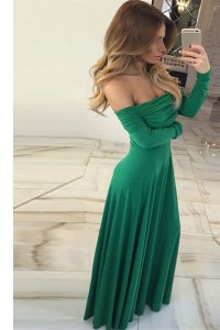 Inexpensive Off the Shoulder Long Sleeves Zipper Floor Length Ruching Homecoming Dress