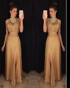 Eye-catching Gold A-line Satin Scoop Sleeveless Beading Floor Length Zipper Evening Dress