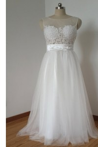 Superior Scoop White Tulle Zipper Evening Outfits Sleeveless Floor Length Lace