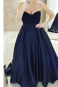 Sleeveless Sweep Train Zipper Belt Dress for Prom