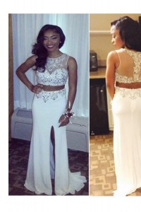 Scoop White Zipper Prom Dress Beading and Appliques Sleeveless Sweep Train