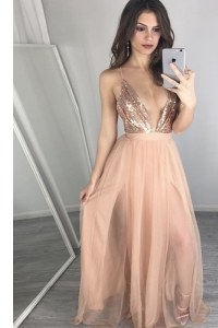 V-neck Sleeveless Prom Evening Gown Floor Length Sequins and Pleated Peach Tulle