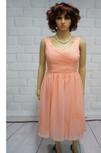 Edgy Peach Chiffon Lace Up Straps Sleeveless Knee Length Prom Gown Ruching