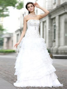 Customized White Wedding Dress Wedding Party and For with Beading and Ruffles and Ruffled Layers Strapless Sleeveless Lace Up