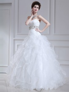 Sweetheart Sleeveless Bridal Gown Floor Length Beading and Ruffles White Organza