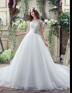 Shining Scalloped Sleeveless Organza and Lace Wedding Gown Beading and Lace Court Train Zipper