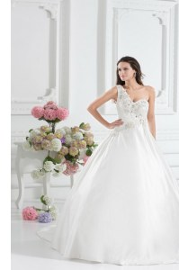 Smart One Shoulder White Sleeveless Satin Brush Train Lace Up Wedding Dress for Wedding Party