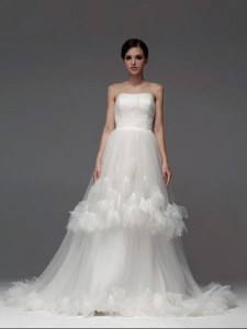 New Arrival Sleeveless Tulle With Brush Train Lace Up Bridal Gown in White with Ruffled Layers and Ruching