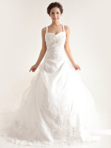 White Sleeveless Brush Train Lace and Appliques and Hand Made Flower With Train Wedding Gown