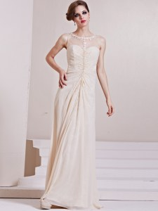 Flirting Champagne Scoop Zipper Beading Wedding Gowns Sleeveless