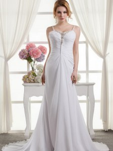 Fantastic White A-line Chiffon Spaghetti Straps Sleeveless Beading and Ruching Zipper Wedding Dresses Brush Train
