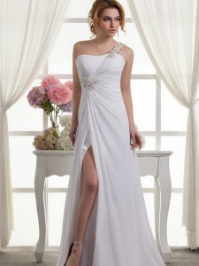 One Shoulder Chiffon Sleeveless Wedding Dresses and Beading and Ruching